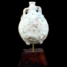 Ptolemaic to Roman pale azure glazed New Years flask