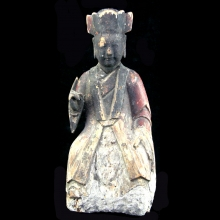 Qing Dynasty wooden seated Lohan