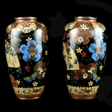 A pair of small Late Meiji cloisonne vases