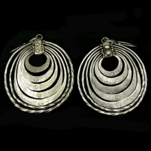 Miao Culture 5 tiered silver earrings engraved with dragons