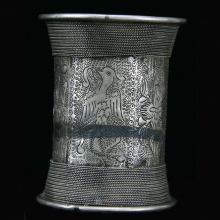 Miao People silver bracelet engraved with dragon and phoenix
