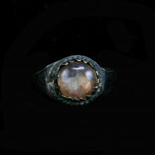 Byzantine copper ring with rock crystal bezel