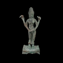 A Javanese bronze statuette of the Hindu Goddess Lakshmi
