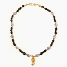 Roman amethyst and garnet bead necklace with gold Amphora pendant