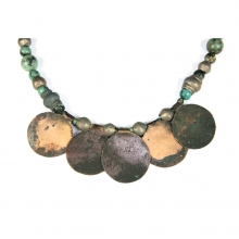 A Mongolian green stone and bronze bead necklace, with modern sterling silver clasp.
