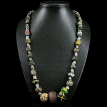 A Roman to Islamic Gabri glass bead necklace.