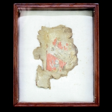 Ptolemaic to Roman linen and gesso painted cartonnage fragment.